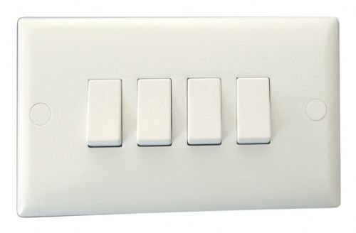 Varilight XO9W Value Polar White 4 Gang 10A 1 or 2 Way Rocker Light Switch